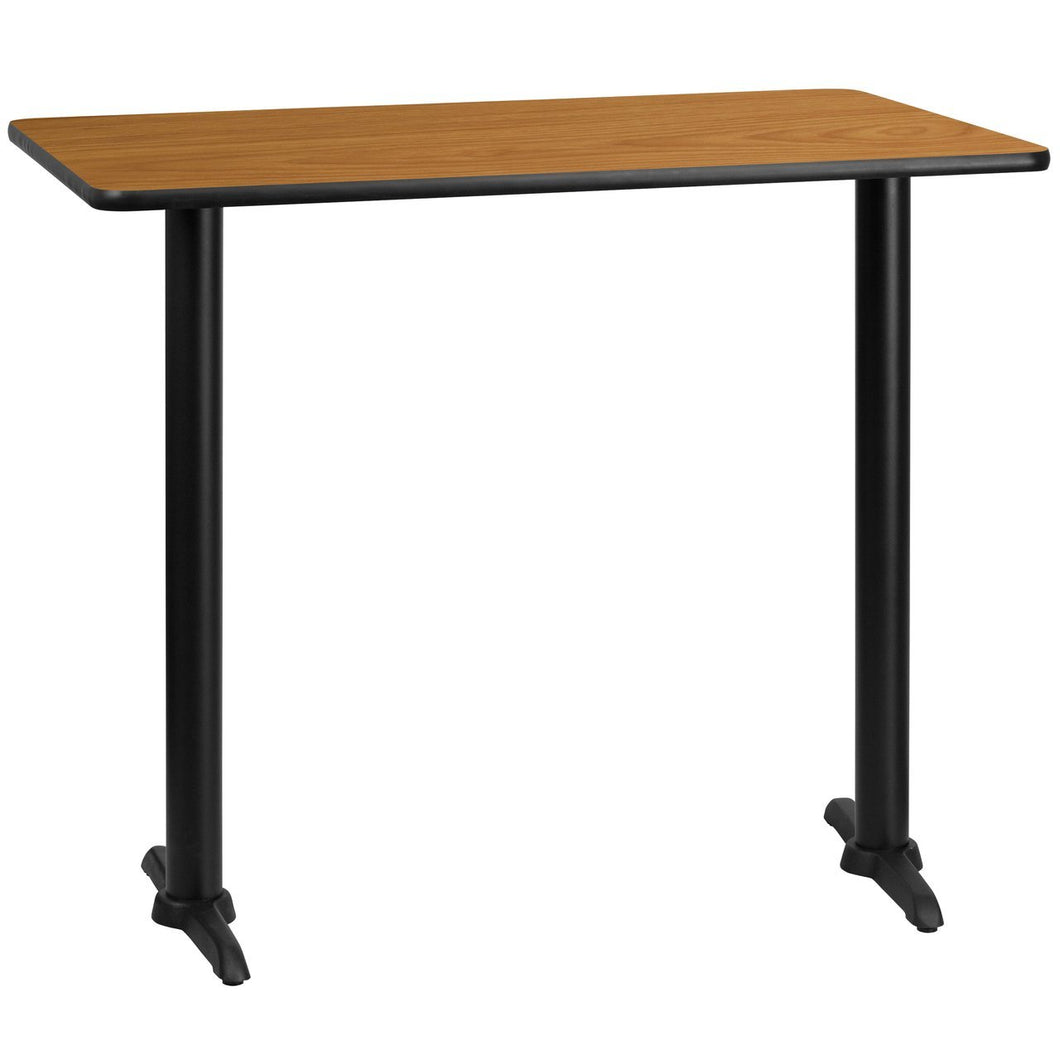 30'' x 48'' Rectangular Natural Laminate Table Top with 5'' x 22'' Bar Height Table Bases