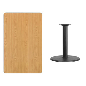 30'' x 48'' Rectangular Natural Laminate Table Top with 24'' Round Table Height Base