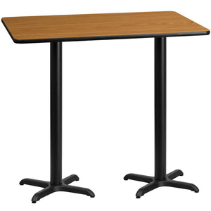 30'' x 60'' Rectangular Natural Laminate Table Top with 22'' x 22'' Bar Height Table Bases