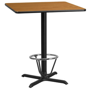 36'' Square Natural Laminate Table Top with 30'' x 30'' Bar Height Table Base and Foot Ring