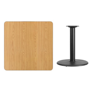 36'' Square Natural Laminate Table Top with 24'' Round Table Height Base