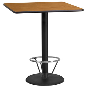 36'' Square Natural Laminate Table Top with 24'' Round Bar Height Table Base and Foot Ring
