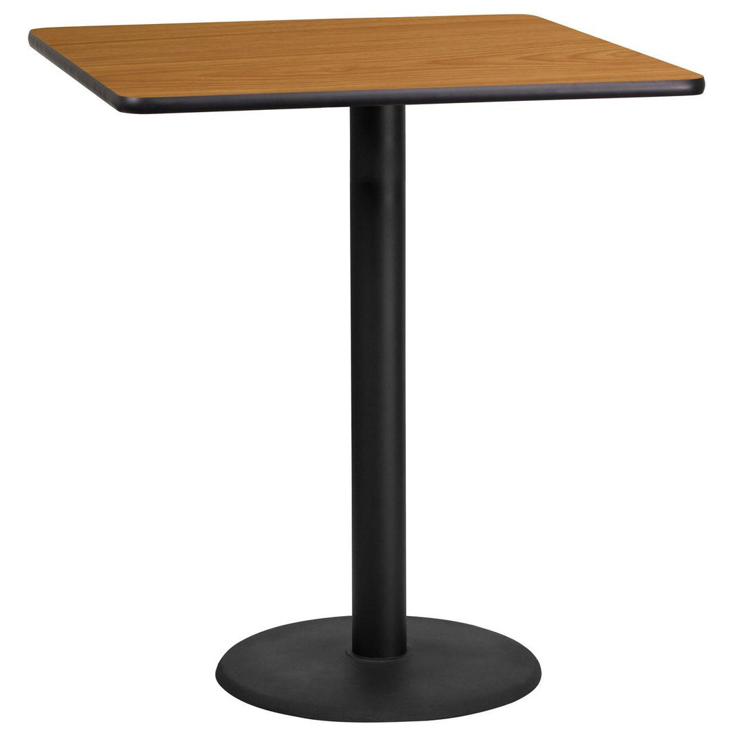 36'' Square Natural Laminate Table Top with 24'' Round Bar Height Table Base