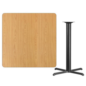 42'' Square Natural Laminate Table Top with 33'' x 33'' Bar Height Table Base