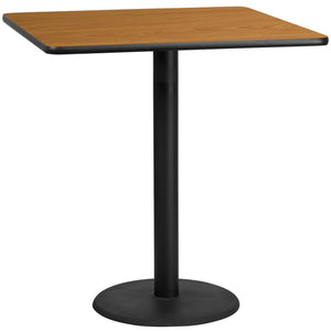 42'' Square Natural Laminate Table Top with 24'' Round Bar Height Table Base