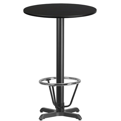 24'' Round Black Laminate Table Top with 22'' x 22'' Bar Height Table Base and Foot Ring