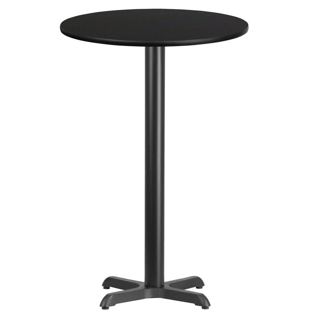 24'' Round Black Laminate Table Top with 22'' x 22'' Bar Height Table Base