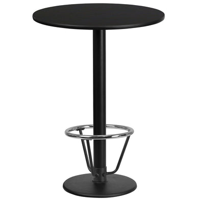 24'' Round Black Laminate Table Top with 18'' Round Bar Height Table Base and Foot Ring