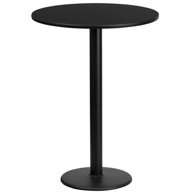 24'' Round Black Laminate Table Top with 18'' Round Bar Height Table Base