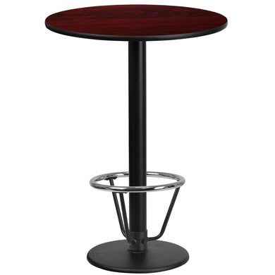 24'' Round Mahogany Laminate Table Top with 18'' Round Bar Height Table Base and Foot Ring