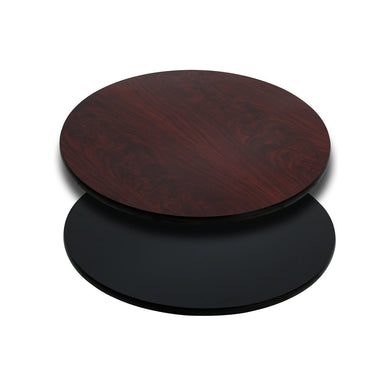 24'' Round Table Top with Black or Mahogany Reversible Laminate Top