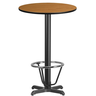 24'' Round Natural Laminate Table Top with 22'' x 22'' Bar Height Table Base and Foot Ring