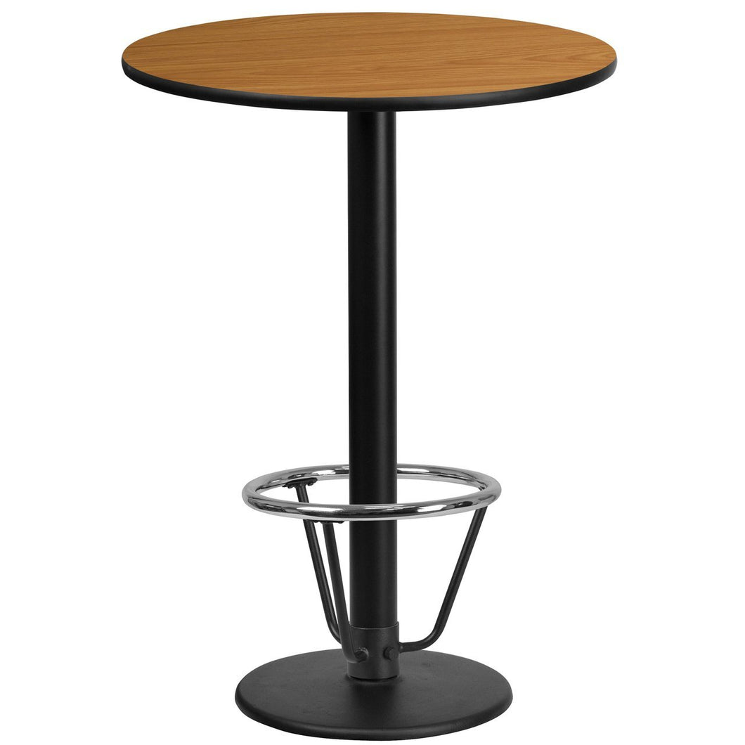 24'' Round Natural Laminate Table Top with 18'' Round Bar Height Table Base and Foot Ring