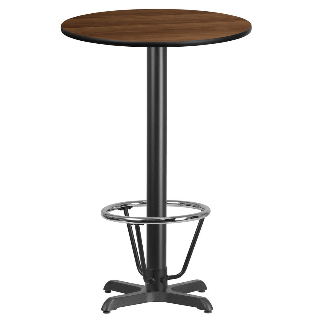 24'' Round Walnut Laminate Table Top with 22'' x 22'' Bar Height Table Base and Foot Ring