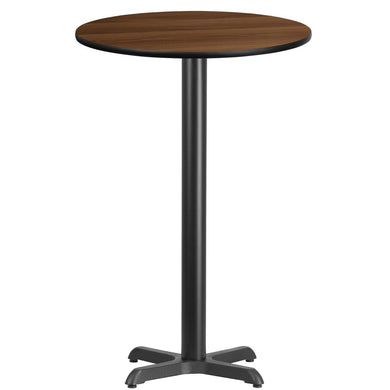 24'' Round Walnut Laminate Table Top with 22'' x 22'' Bar Height Table Base