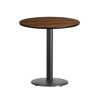 24'' Round Walnut Laminate Table Top with 18'' Round Table Height Base