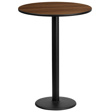 24'' Round Walnut Laminate Table Top with 18'' Round Bar Height Table Base