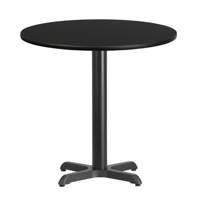 30'' Round Black Laminate Table Top with 22'' x 22'' Table Height Base