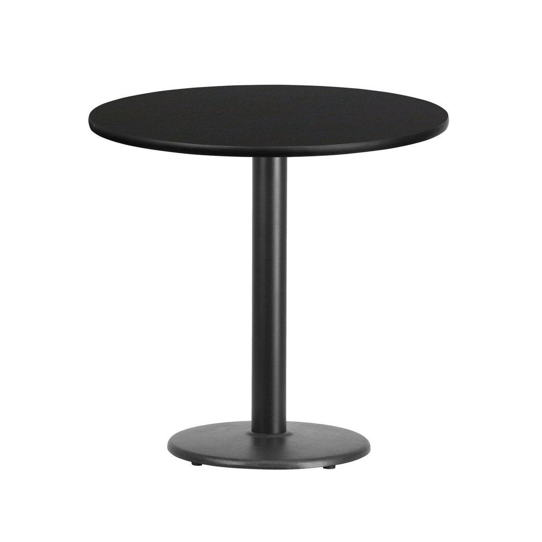 30'' Round Black Laminate Table Top with 18'' Round Table Height Base