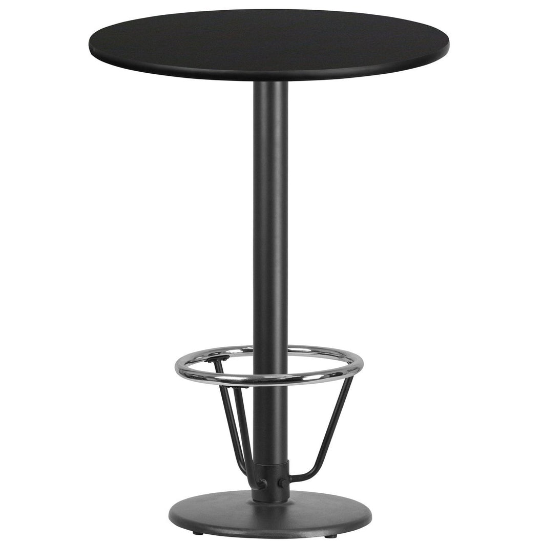 30'' Round Black Laminate Table Top with 18'' Round Bar Height Table Base and Foot Ring
