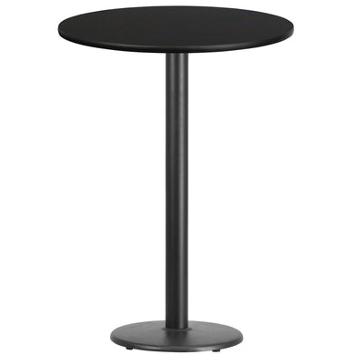 30'' Round Black Laminate Table Top with 18'' Round Bar Height Table Base