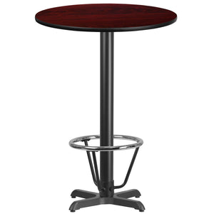 30'' Round Mahogany Laminate Table Top with 22'' x 22'' Bar Height Table Base and Foot Ring