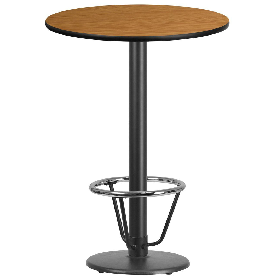 30'' Round Natural Laminate Table Top with 18'' Round Bar Height Table Base and Foot Ring