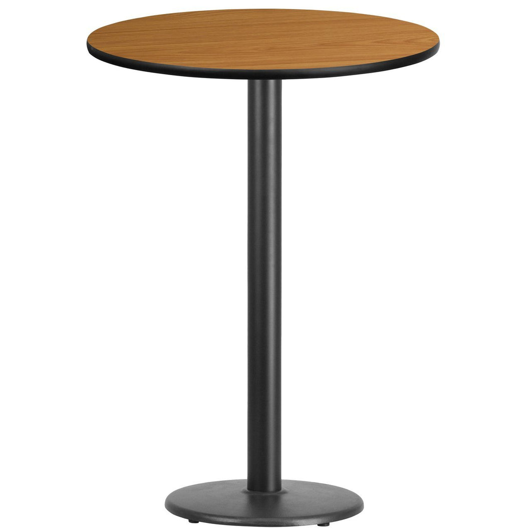 30'' Round Natural Laminate Table Top with 18'' Round Bar Height Table Base