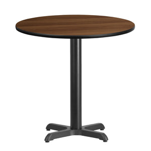 30'' Round Walnut Laminate Table Top with 22'' x 22'' Table Height Base
