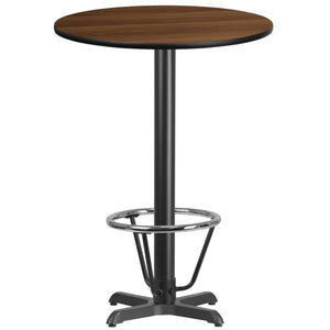 30'' Round Walnut Laminate Table Top with 22'' x 22'' Bar Height Table Base and Foot Ring