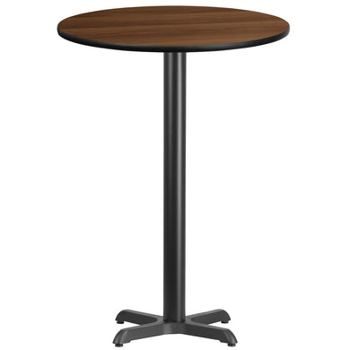 30'' Round Walnut Laminate Table Top with 22'' x 22'' Bar Height Table Base