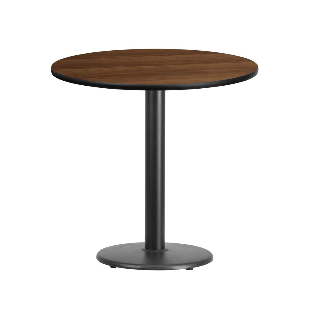 30'' Round Walnut Laminate Table Top with 18'' Round Table Height Base