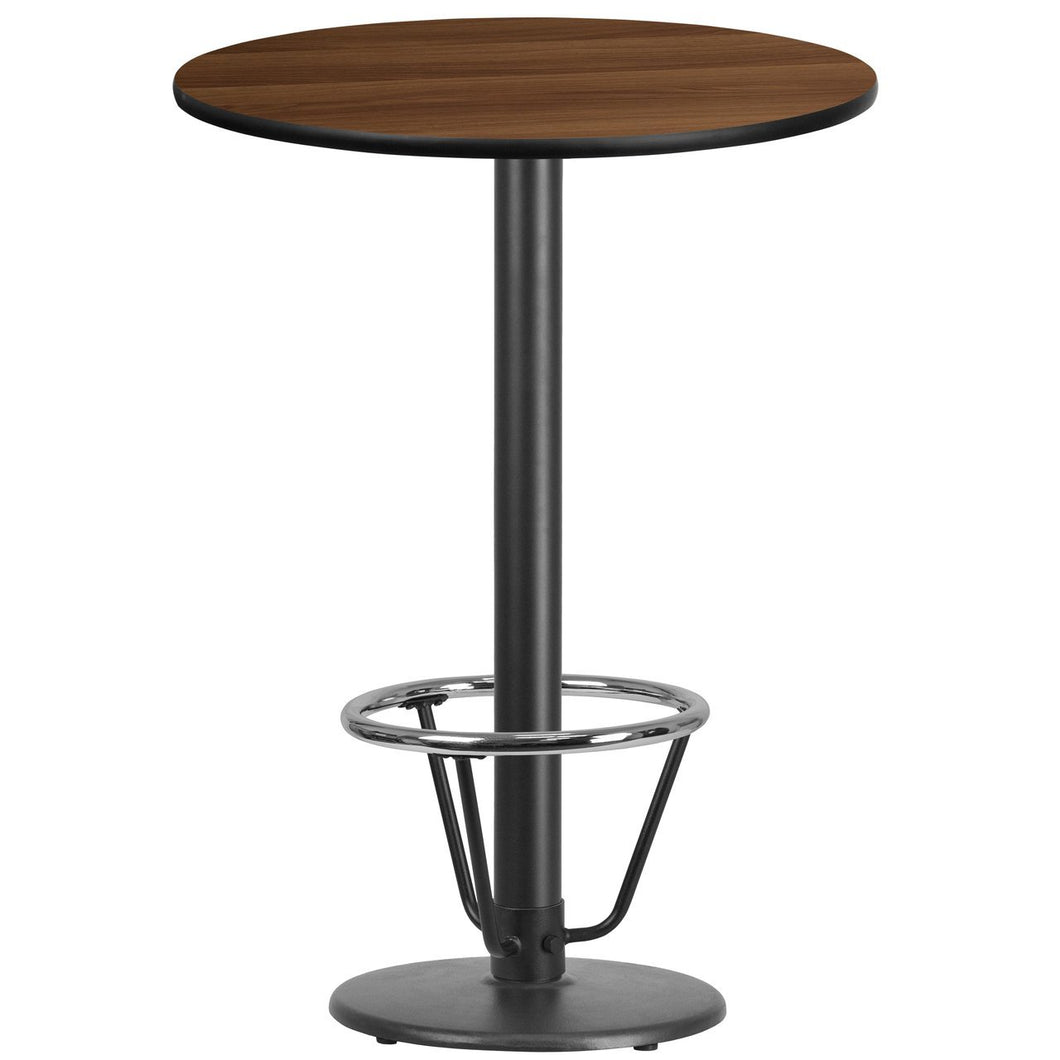 30'' Round Walnut Laminate Table Top with 18'' Round Bar Height Table Base and Foot Ring