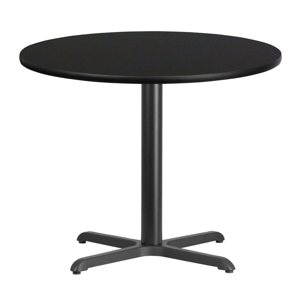 36'' Round Black Laminate Table Top with 30'' x 30'' Table Height Base
