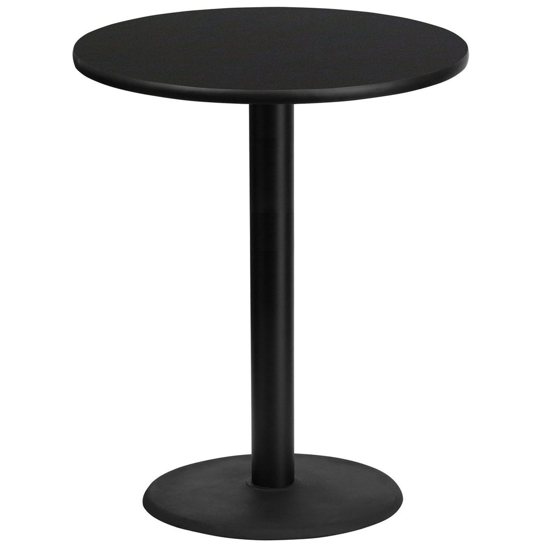 36'' Round Black Laminate Table Top with 24'' Round Bar Height Table Base