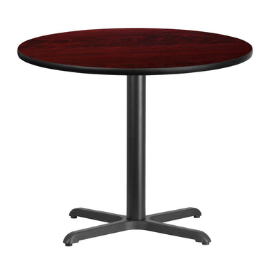 36'' Round Mahogany Laminate Table Top with 30'' x 30'' Table Height Base