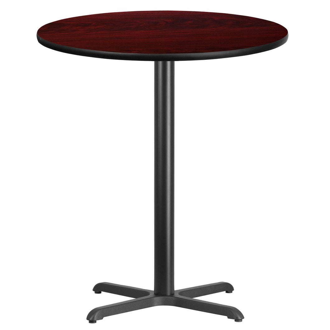 36'' Round Mahogany Laminate Table Top with 30'' x 30'' Bar Height Table Base
