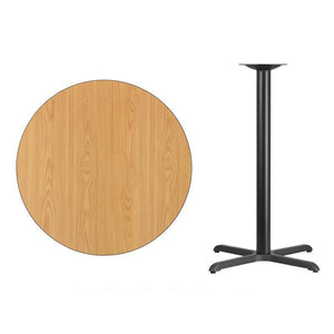 36'' Round Natural Laminate Table Top with 30'' x 30'' Bar Height Table Base
