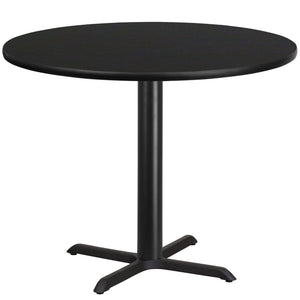 42'' Round Black Laminate Table Top with 33'' x 33'' Table Height Base