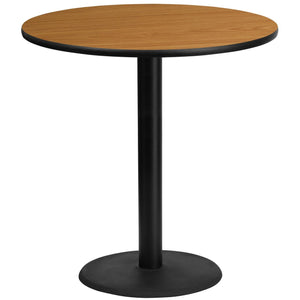 42'' Round Natural Laminate Table Top with 24'' Round Bar Height Table Base