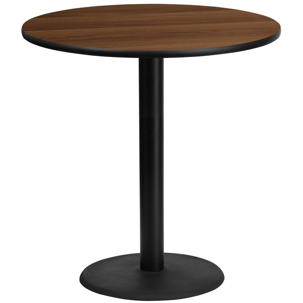 42'' Round Walnut Laminate Table Top with 24'' Round Bar Height Table Base