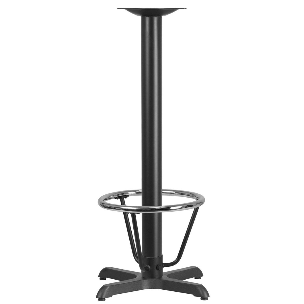22'' x 22'' Restaurant Table X-Base with 3'' Dia. Bar Height Column and Foot Ring