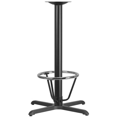 30'' x 30'' Restaurant Table X-Base with 3'' Dia. Bar Height Column and Foot Ring