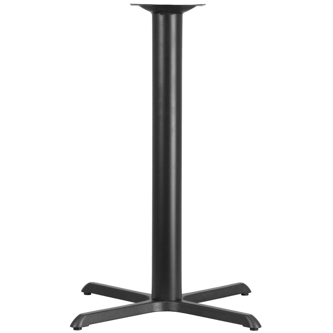 33'' x 33'' Restaurant Table X-Base with 4'' Dia. Bar Height Column