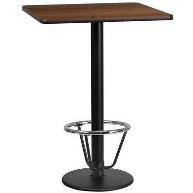 24'' Square Walnut Laminate Table Top with 18'' Round Bar Height Table Base and Foot Ring
