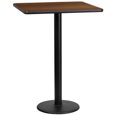 24'' Square Walnut Laminate Table Top with 18'' Round Bar Height Table Base