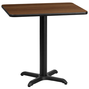 24'' x 30'' Rectangular Walnut Laminate Table Top with 22'' x 22'' Table Height Base