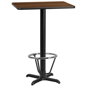 24'' x 30'' Rectangular Walnut Laminate Table Top with 22'' x 22'' Bar Height Table Base and Foot Ring