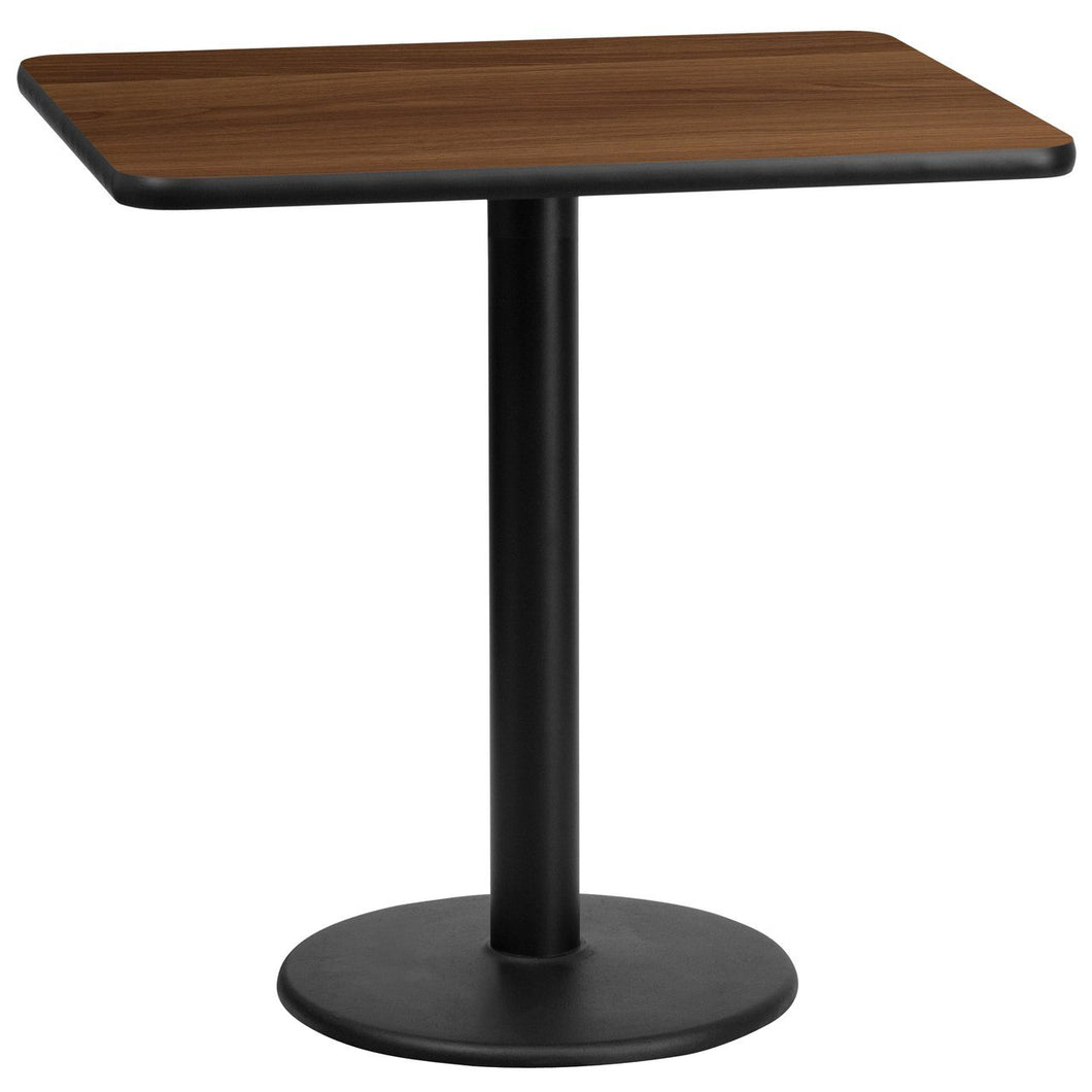 24'' x 30'' Rectangular Walnut Laminate Table Top with 18'' Round Table Height Base
