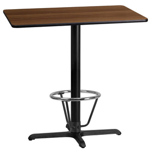 24'' x 42'' Rectangular Walnut Laminate Table Top with 22'' x 30'' Bar Height Table Base and Foot Ring